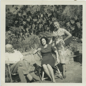 Shirley Graham Du Bois with unidentified man and woman in Hampstead