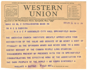Telegram from The American Church Institute for Negroes to W  E  B