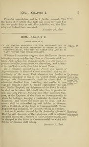 1780 Chap. 0002 An Act Making Provision For The Accommodation Of Soldiers And Seamen Belonging To Other States Or Commonwealths, Who May Be Taken Sick And Be In Want, Within This Commonwealth.