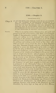 1780 Chap. 0003 An Act For Repealing Certain Parts Of An Act Postponing The Payment Of Government Securities To A Distant Period--For The Payment Of The Interest Now Due On Said Securities; And For Altering The Several Acts Of Government Which Now Relate To The Currency Of The State, And Conforming The Same To The Principles Of Equality And Justice.