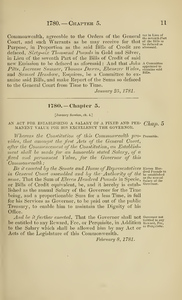 1780 Chap. 0005 An Act For Establishing A Salary Of A Fixed And Permanent Value For His Excellency The Governor.