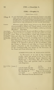 1780 Chap. 0006 An Act Providing That All Vessels Of Twenty Tons Burthen And Upwards, Shall Be Provided With Registers, Before They Are Permitted To Enter And Clear At Any Of The Naval Offices In This Commonwealth, And For Empowering The Governor To Sign Blank Registers.