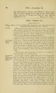1780 Chap. 0012 An Act To Supply The Treasury With The Sum Of Four Hundred Thousand Pounds -- Money.