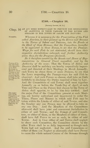 1780 Chap. 0016 An Act More Effectually To Prevent The Destruction Of Alewives In Their Passage Up The Rivers And Streams In The Towns Of Salem And Danvers.