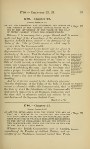 1780 Chap. 0022 An Act For Recording And Publishing The Doings Of The Justices Of The Supreme Judicial Court Relating To The Settlement Of The Value Of The Bills Of Credit Current Within This Commonwealth.