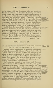 1780 Chap. 0026 An Act Impowering Selectmen To Call Town Meetings For The Choice Of Representatives.