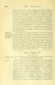 1785 Chap. 0019 An Act For Reviving And Continuing Sundry Laws That Are Expired And Near Expiring.