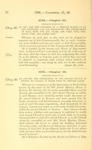 1786 Chap. 0036 An Act For The Confirming Of The Second Church In Boston, So Called, In Their Title To Certain Lands.