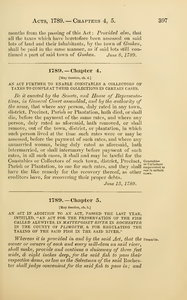 "1789 Chap. 0005 An Act In Addition To An Act, Passed The Last Year, Intitled, ""An Act For The Preservation Of The Fish Called Alewives, In Mattepoiset River In Rochester In The County Of Plimouth, & For Regulating The Taking Of The Said Fish In The Said River."""