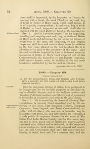 1800 Chap. 0060 An Act To Incorporate Benjamin Hodges And Others, Into A Society, By The Name Of The Salem East India Marine Society.