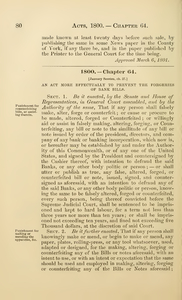 1800 Chap. 0064 An Act More Effectually To Prevent The Forgeries Of Bank Bills.