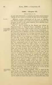 1800 Chap. 0067 An Act For Providing A Passage For Fish From Mystick River To Ell Pond, So Called, In The Town Of Malden.