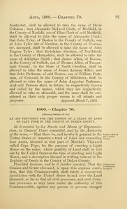 1800 Chap. 0070 An Act Providing For The Cession Of A Tract Of Land On Cape Poge In The County Of Duke's County.