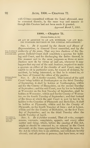"""1800 Chap. 0071 An Act In Addition To An Act, Entitled, """"An Act Making Further Provision In The Judicial Department."""""""