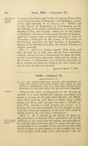 1800 Chap. 0073 An Act For Regulating The Taking And Disposing Of The Fish Called Alewives Within The Limits Of The Town Of Weymouth, And For The More Effectually Securing To The Said Town The Advantages Thereof.