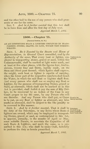 1800 Chap. 0075 An Act Respecting Boats & Lighters Employed In Transporting Stones, Gravel Or Sand, Within This Commonwealth.