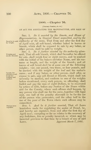 1800 Chap. 0076 An Act For Regulating The Manufacture, And Sale Of Bread.