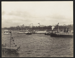 Steamers & Olympia in naval parade, New York harbor, New York, New York, Septmeber 28, 1899