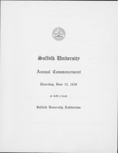 1939 Suffolk University commencement program