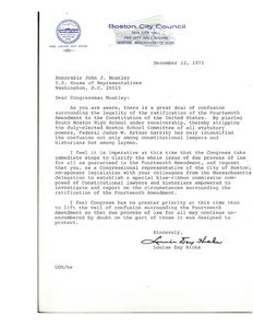 Correspondence between John Joseph Moakley and Louise Day Hicks of the Boston City Council regarding busing, December 1975-January 1976