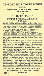 "Ford Hall Youth Forum program advertising ""I Hate War!"" undated"