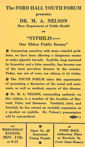 "Ford Hall Youth Forum program advertising ""Syphilis: Our Oldest Public Enemy,"" undated"