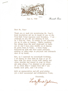 Letter from Lady Bird Johnson, 1982