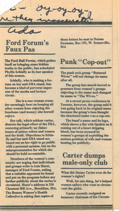 "Newspaper clipping, ""Ford Forum's Faux Pas"", 1979"