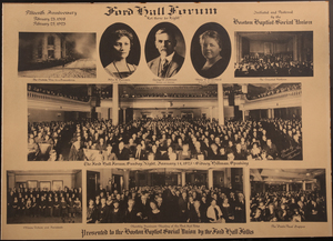 Ford Hall Forum Fifteenth Anniversary poster, 1923