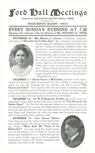 Ford Hall Forum lecture program, November/December 1920-1921