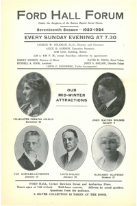 Ford Hall Forum program, 17th Season, Mid-Winter 1923-1924