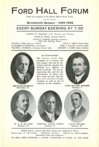 Ford Hall Forum program, 19th Season, December/January 1925-1926