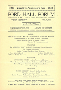 Ford Hall Forum program, 20th Season, March 1928