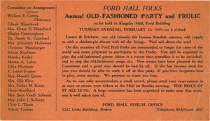 Ford Hall Folks Annual Old-Fashioned Party and Frolic postcard, 1935