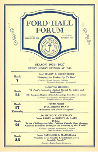 Ford Hall Forum program, March 1936-1937