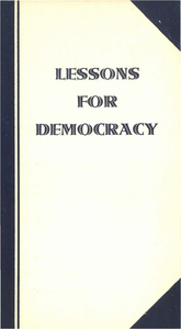 "Ford Hall Forum Pamphlet, ""Lessons for Democracy"", 1940"