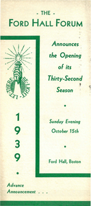 Ford Hall Forum Announcement of 32nd Season, 1939
