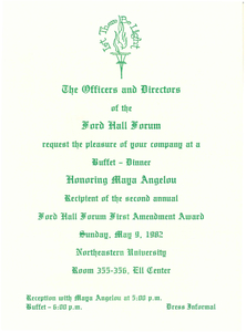 Invitation for Second Annual First Amendment Award, 1982