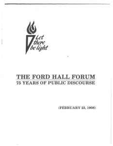 Ford Hall Forum 75 Years of Public Discourse Anniversary Booklet, 1983