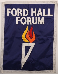 Ford Hall Forum cloth banner, undated