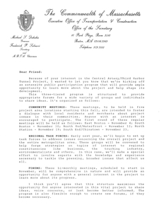 Letter from Massachusetts Secretary of Transportation Fred Salvucci to Congressman John Joseph Moakley regarding the launch of a public participation program to promote the Central Artery/Third Harbor Tunnel Project, circa 1987