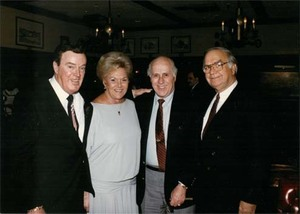 John Joseph Moakley, Evelyn Moakley and Red Auerbach and another guest at an unidentified event, 1980s-1990s