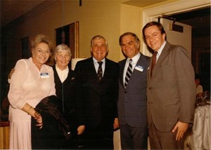 Members of a congressional delegation to China including Congressmen John Joseph Moakley and Silvio Conte, plus Evelyn Moakley and Mrs. Conte