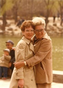 Evelyn Moakley hugs another women during a congressional trip to China