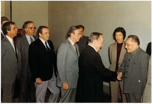 Members of a 1983 congressional delegation to China meet with Chinese officials