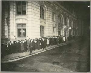 Photograph of Ford Hall Forum audience line, undated