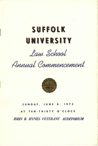 1975 Suffolk University Law School Annual Commencement Program