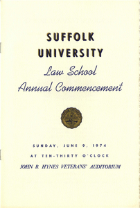 1974 Suffolk University Law School Annual Commencement Program