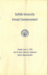 1978 Suffolk University Annual Commencement Program