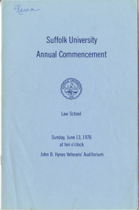 1976 Suffolk University Law School Annual Commencement Program